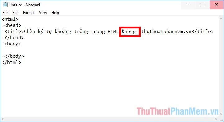 Chèn ký tự khoảng trắng trong html