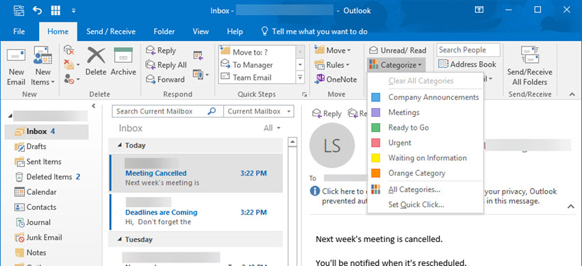 Renaming color categories in Outlook