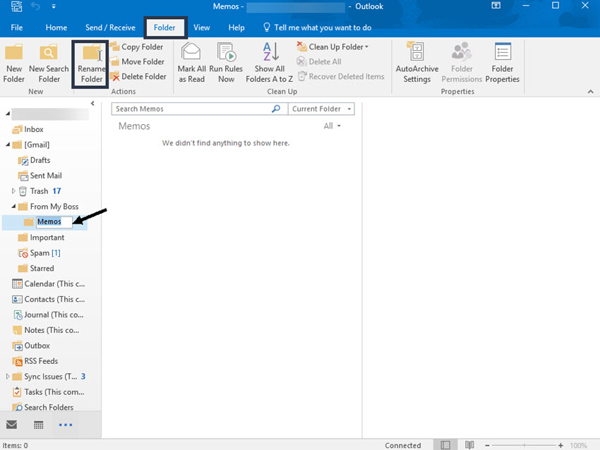 Rename an existing folder in Microsoft Outlook